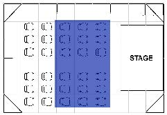 A diagram of seating in an event space. The seating in the middle is shaded blue.